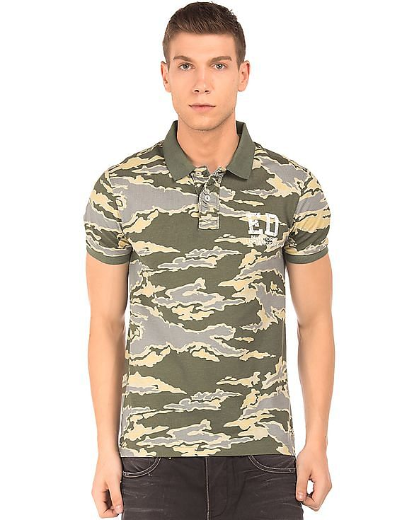 d5f26be11d7 Buy Men Camo Print Slim Fit Polo Shirt online at NNNOW.com