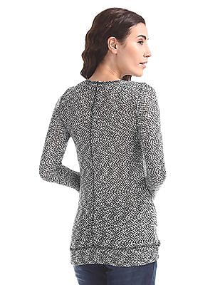 Cherokee Layered Patterned Knit Top