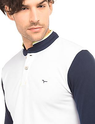 Flying Machine Colour Block Long Sleeve Polo Shirt