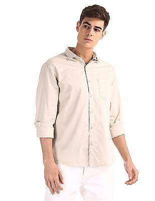 Ruggers Beige Regular Fit Solid Shirt