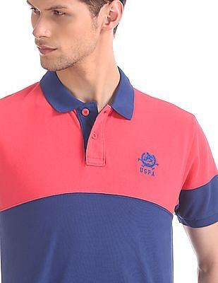 U.S. Polo Assn. Blue And Pink Panelled Polo Shirt