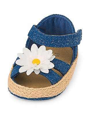 The Children's Place Baby Girls 3D Daisy Denim Sandals