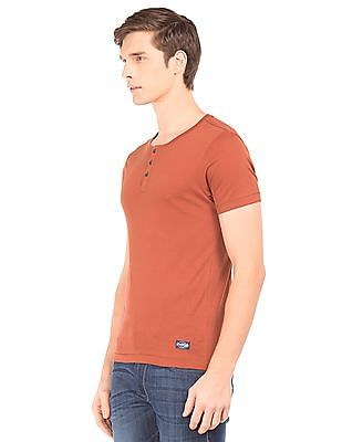 Flying Machine Solid Slim Fit Henley T-Shirt