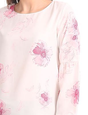 Cherokee Floral Print Balloon Sleeve Top