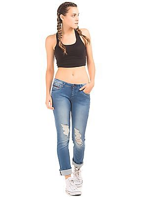 EdHardy Women Low Rise Distressed Jeans
