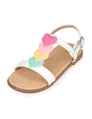 The Children's Place Toddler Girl Heart T-Strap Sandals