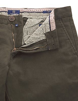 True Blue Patterned Weave Slim Fit Trousers
