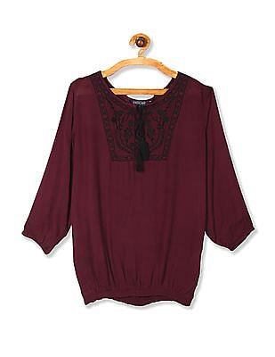 Cherokee Red Embroidered Round Neck Peasant Top