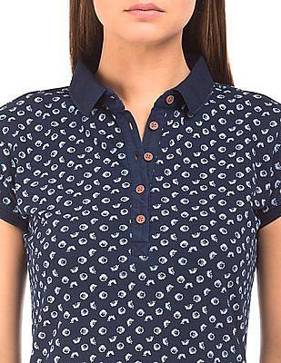U.S. Polo Assn. Women Floral Print Pique Polo Dress