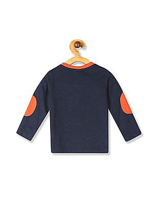 Donuts Blue Boys Crew Neck Appliqued T-Shirt