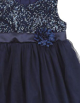 Cherokee Girls Sequin Embellished Empire Waist Dress