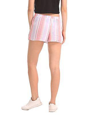 Aeropostale Elasticized Waist Striped Woven Shorts