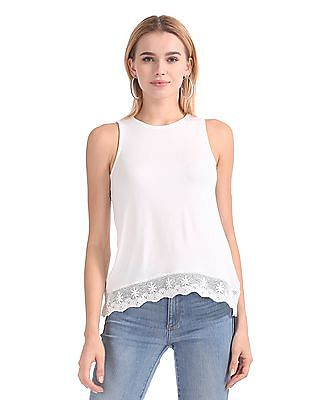 Aeropostale Crochet Hem Sleeveless Top