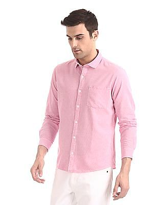Roots by Ruggers Pink Semi Cutaway Collar Patterned Check Shirt