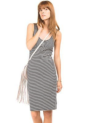 Aeropostale Striped Ribbed Midi Dress
