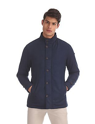Arrow Sports Blue High Neck Solid Jacket