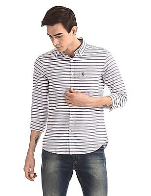 U.S. Polo Assn. Button Down Collar Horizontal Stripe Shirt