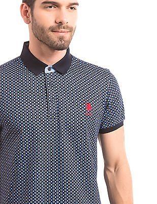 U.S. Polo Assn. Slim Fit Retro Print Polo Collar
