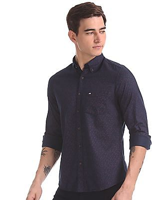 Arrow Sports Blue Slim Fit Patch Pocket Shirt