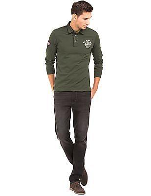 U.S. Polo Assn. Denim Co. Panelled Long Sleeve Polo Shirt