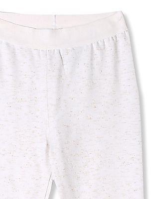 Cherokee White Girls Shimmery Knit Leggings
