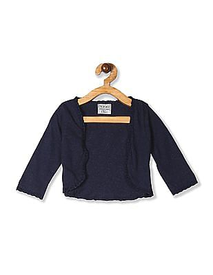 Cherokee Blue Girls Lace Tip Knit Shrug