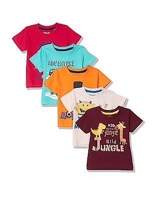 Donuts Boys Printed T-Shirt - Pack Of 5
