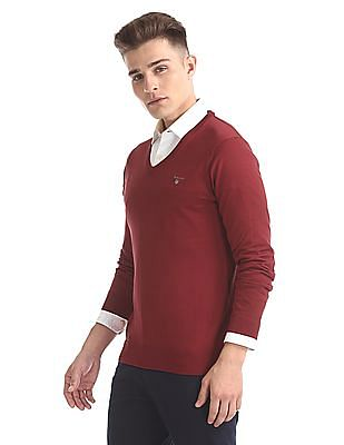 Gant Original Cotton Lux V-Neck Sweater