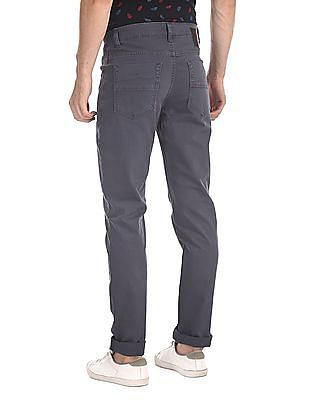 Ed Hardy Blue Slim Fit Flat Front Trousers