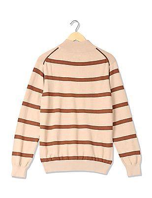 Arrow Sports Zipper Placket Striped Sweater