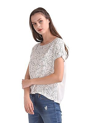 Cherokee Printed Front Boxy Top