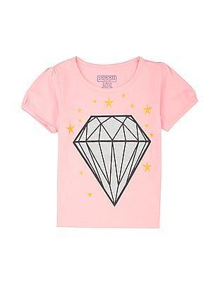 Cherokee Girls Diamond Print Cotton T-Shirt
