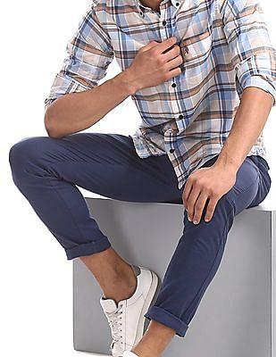 U.S. Polo Assn. Blue Austin Trim Regular Fit Tonal Check Trousers