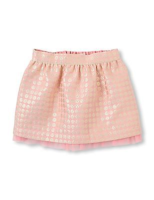 The Children's Place Baby Pink Flared Brocade Skirt