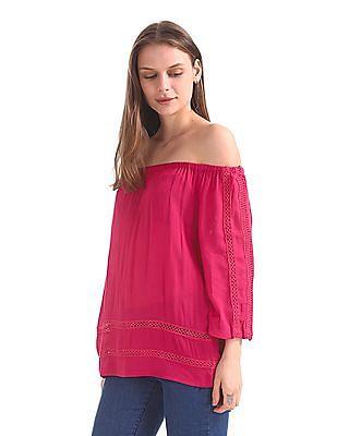 Cherokee Lace Trim Off Shoulder Top