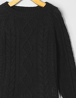 GAP Girls Black Cable Sweater