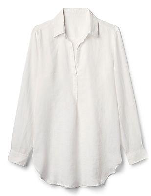 GAP Popover Boyfriend Tunic Stripe Shirt In Linen