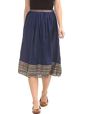 Bronz Printed Hem Flared Skirt