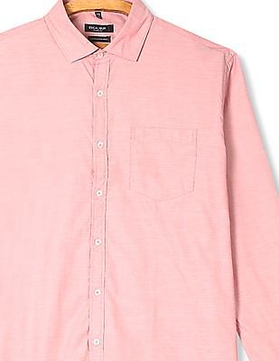 Excalibur Red Mitered Cuff Patterned Shirt