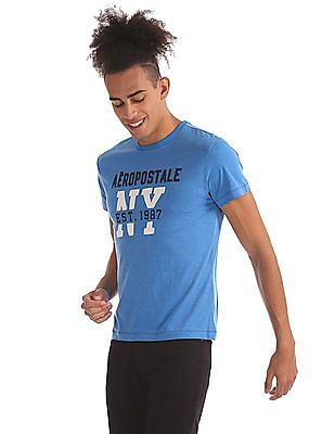 Aeropostale Ribbed Neck Heathered T-Shirt