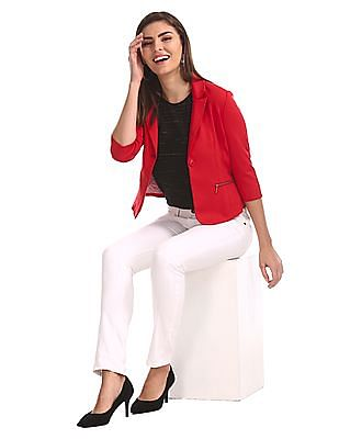 Flying Machine Women Red Standard Fit Solid Jacket