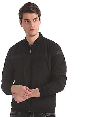 Flying Machine Black Solid Bomber Jacket