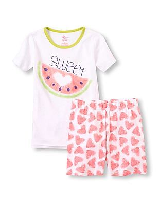 The Children's Place Girls White Short Sleeve 'Sweet' Watermelon Pyjama Set