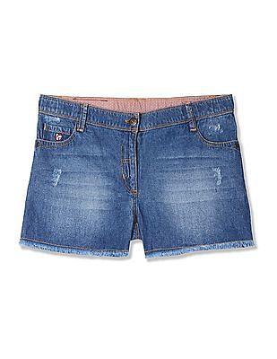 U.S. Polo Assn. Kids Girls Stone Wash Distressed Shorts