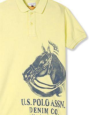 U.S. Polo Assn. Kids Yellow Boys Brand Print Polo Shirt
