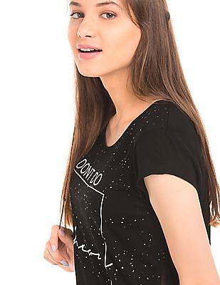 SUGR Sheer Hem Glitter Printed Top