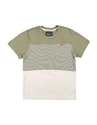 Cherokee Boys Striped Panel Round Neck T-Shirt
