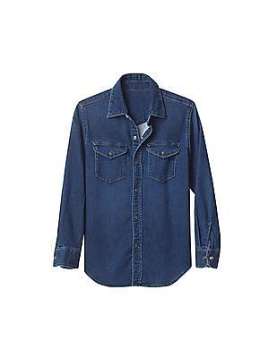 GAP Boys Blue 1969 Supersoft Denim Western Shirt