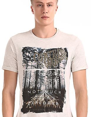 Cherokee Grey Upturned Sleeve Printed T-Shirt