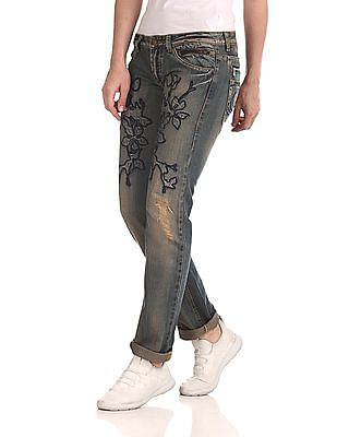 Flying Machine Embroidered Slim Fit Jeans